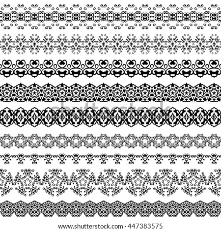 Set line borders with patterns and design elements. Vintage vector illustration for fashion industry and not only