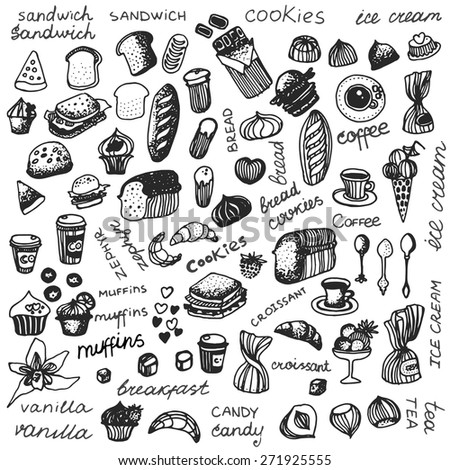 set  line draw cartoon isolated elements  breakfast on vintage background