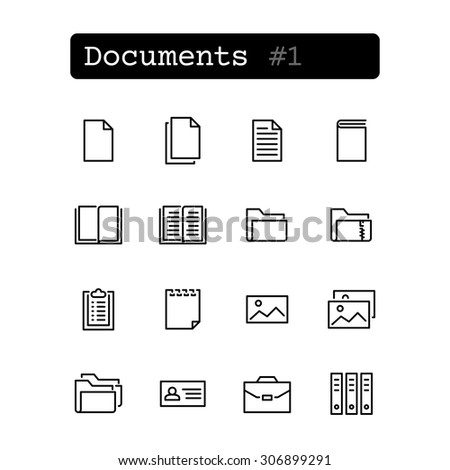 Set line thin icons. Vector. Document, file. - stock vector