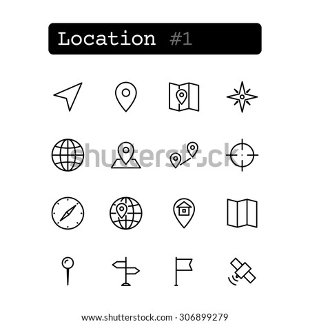 Set line thin icons. Vector. Geolocation navigation. - stock vector