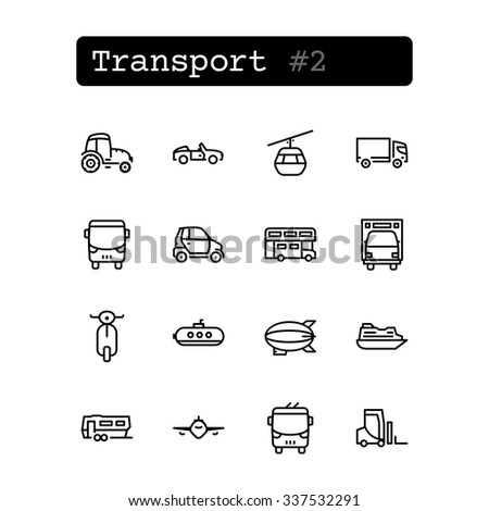 Set line thin icons. Vector. Transport - stock vector