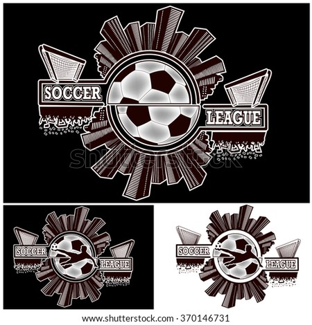Set logo soccer league with urban elements and the silhouette football atmosphere on soccer ball background.  Vector illustration - stock vector