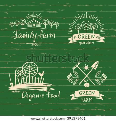 Set logos family farm.Logo organic food. Hand drawn element for eco food. Ecology natural product. Sketch farm logo.  - stock vector