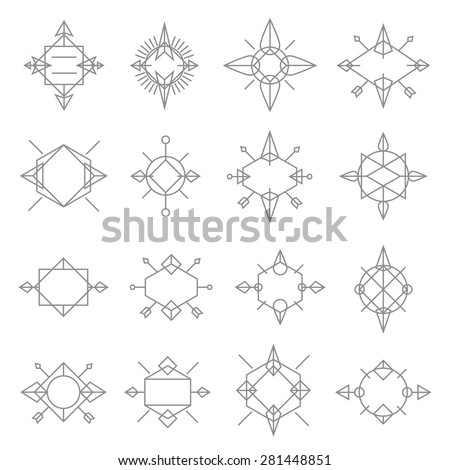 Set logos template. Set of geometric shapes squares, triangles, lines, circles, arrows. Vector elements, logos, labels, badges, apparel, ribbons, stickers and branding objects. - stock vector