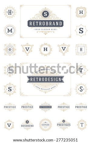 Set Luxury Logos template flourishes calligraphic elegant ornament lines. Business sign, identity for Restaurant, Royalty, Boutique, Hotel, Heraldic, Jewelry, Fashion and other vector illustration - stock vector