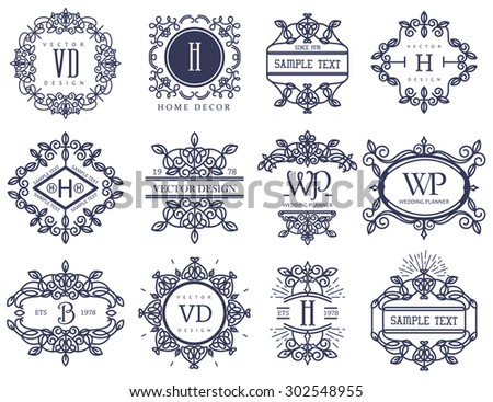 Set Luxury Logos template flourishes calligraphic elegant ornament lines.Identity for Restaurant, Royalty, Boutique, Hotel, Jewelry, Fashion and other vector illustration - stock vector