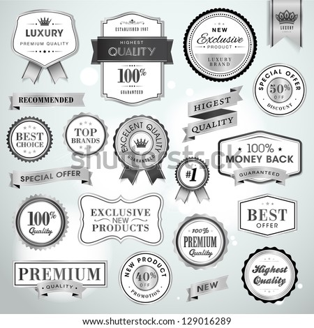 Set luxury silver labels and ribbons for sale and products promotion - stock vector