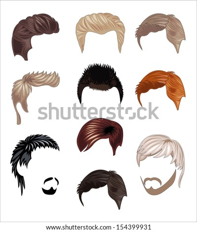 set male hairstyle - stock vector