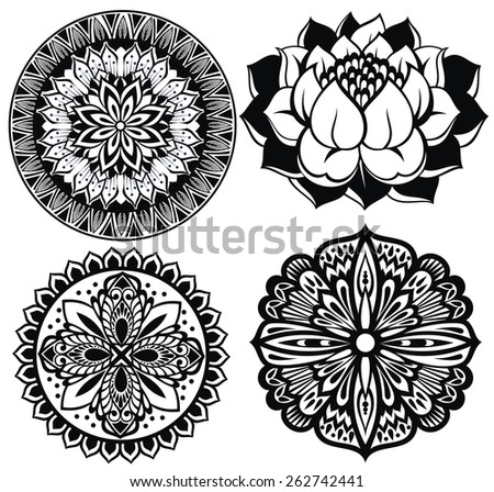 Set Mandalas. Round Ornament Pattern.Lotus flower - stock vector