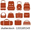 set many red isolated bag for man or woman - stock photo