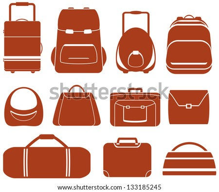 set many red isolated bag for man or woman - stock vector