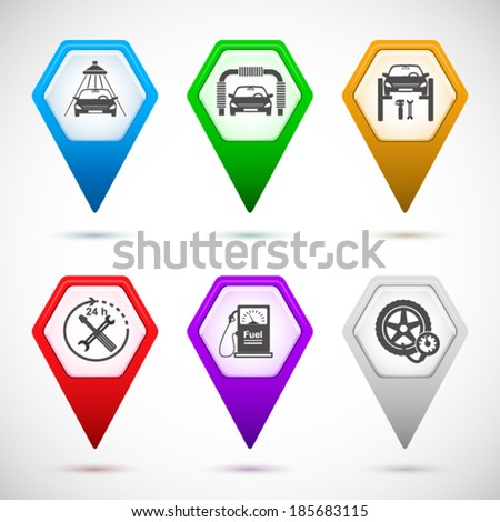 Set Map pointer & icons - silhouette Car service maintenance icon & Gas station pump with fuel nozzle sign in form of hexagon isolated on white background with shadow and light flares. Vector EPS 10 - stock vector