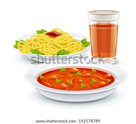 Set meal dinner menu with soup pasta and juice drink. Eps10 vector illustration. Isolated on white background - stock vector