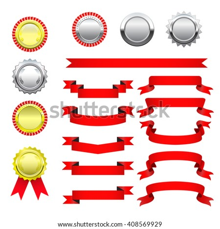 Set medals ribbons red variety.