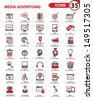 Set Media - Advertising icons,vector - stock vector