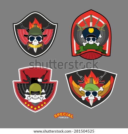 Set military and armed labels logo.  Skull, Eagle and weapons.Vector illustration - stock vector
