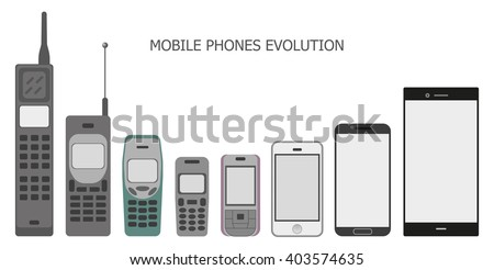 Set modern and vintage mobile gadgets. mobile phone evolution vector. Smartphone icon in iphone style. Smartphone Icon Vector. Smartphone Icon Picture.  Smartphone Icon Image. Smartphone Icon JPG.  - stock vector
