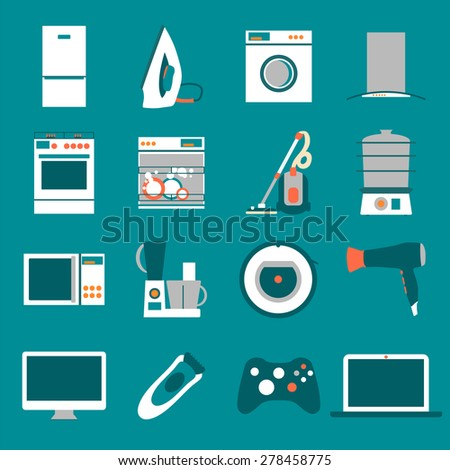Set  modern flat design icons of home appliances. - stock vector