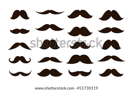 Set mustaches isolated on white background. Vector illustration
