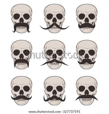 set mustachioed skull - stock vector