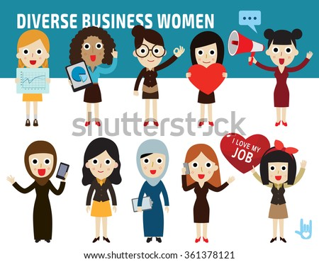set nationality difference poses of business womenflat cartoon icon design.illustration isolated on white background. - stock vector