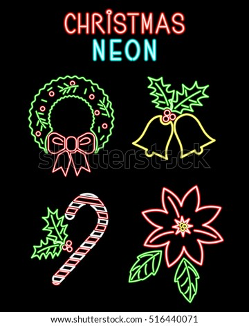 Set neon Christmas and New Year symbols: poinsettia, bells, wreath and  sweet sugar