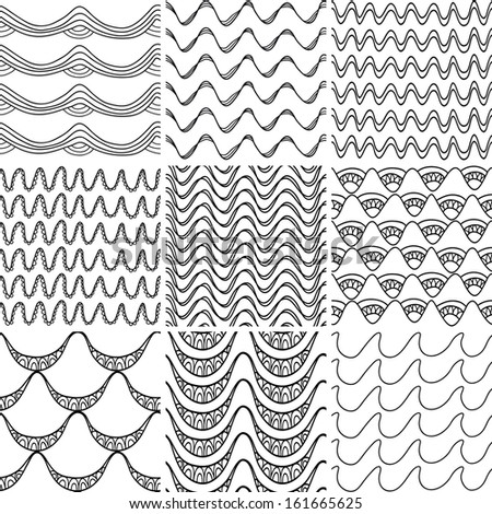 Set 3 Nine black and white wave patterns. Seamless pattern can be used for wallpaper, surface textures, web page background. Seamless wave background in vector