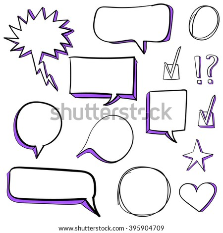 Set od 3d hand drawn icons: check mark, star, heart, speech bubbles. VECTOR. Purple - stock vector