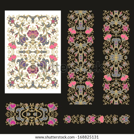 Set od decorative floral patterns - stock vector