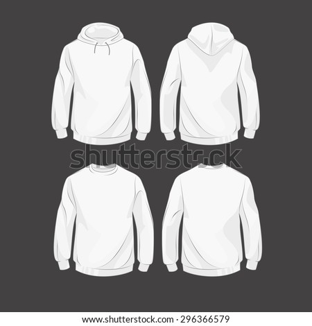 Set od hoodies, front and back, with hood and without - stock vector