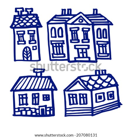 Set od houses, isolated doodles, sketches on white background, vector illustration - stock vector