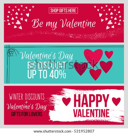 Set od modern flat valentines day stock vector 2018 531952807 set od modern flat valentines day greetings cardsbannersvouchers and sale promotion flyers m4hsunfo