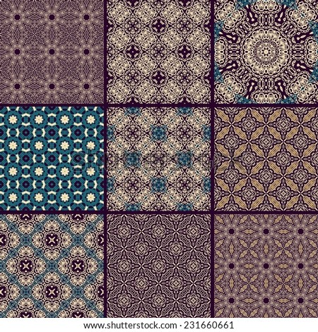 Set od seamless patterns in oriental style - stock vector