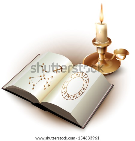 Set of a book with astrological symbols and a candle. Isolated on white background. Vector illustration