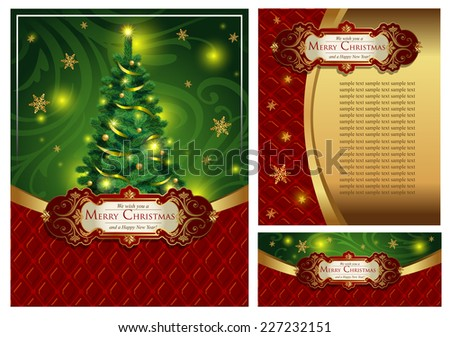 Set of a bright festive Christmas greeting card, an envelope and the certificate In classic style. Possible to use for banners, posters, decoration, booklets, etc.A vector illustration.  - stock vector