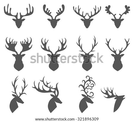 Set of a deer head silhouette on white background - stock vector