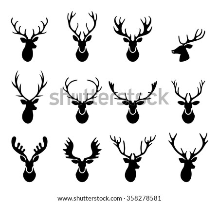 Set of a deer head silhouette on white background. - stock vector