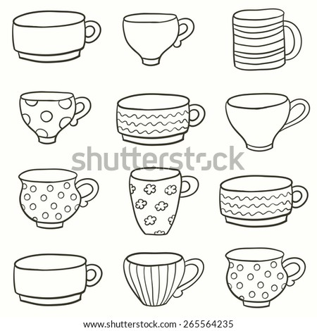 Set of a different cups in vector. Hand drawn vector illustration. - stock vector