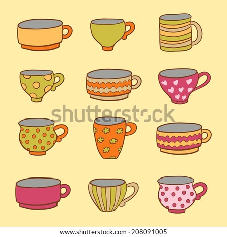 Set of a different cups in vector. Seamless pattern can be used for menu, card template, business card. - stock vector
