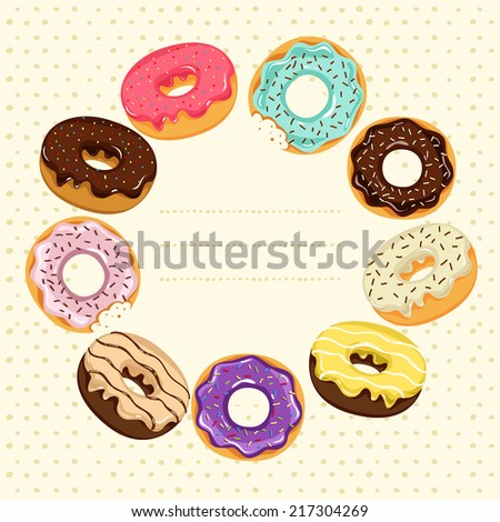 Set of a Donuts with colorful glazing. Frame with place for your text - stock vector