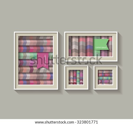 Set of a frame with Geometric lines - stock vector