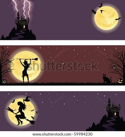 Set of a halloween banners.