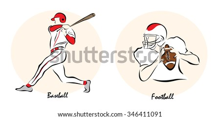 Set of a Illustration shows a Summer Olympic Sports. Baseball and football?