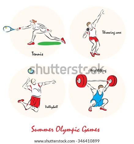 Set of a Illustration shows a Summer Olympic Sports. Tennis, pushing the ball, volleyball, weightlifting