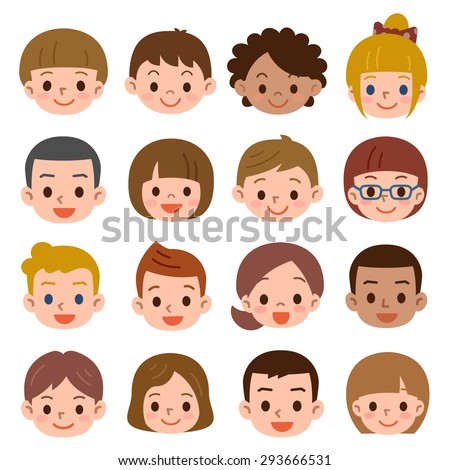 Set of a lot of the child's face - stock vector