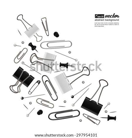 Set of a office accessories for your design - paper clips, carnations. Vector.