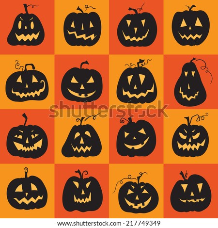 Set of a scary Halloween pumpkin. Pumpkins designs with different facial expressions. Sixteen  pumpkins. - stock vector