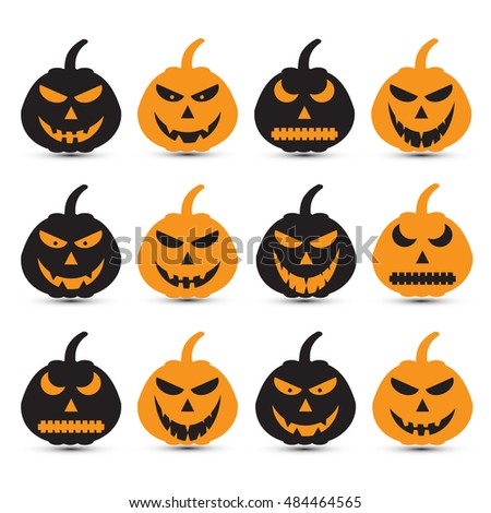 Set of a scary halloween pumpkin. vector illustration