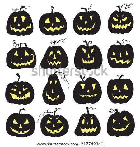 Set of a scary Halloween pumpkin. White backdrop. Pumpkins designs with different facial expressions. Sixteen pumpkins. - stock vector