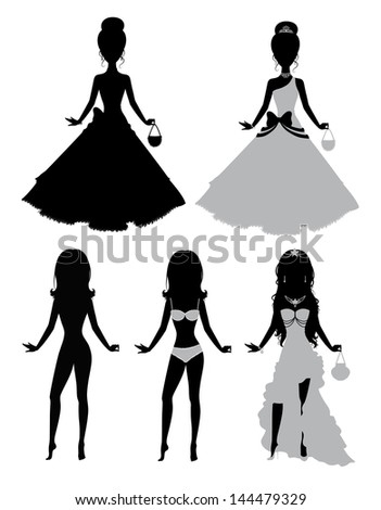 Set of a silhouettes of a girls. - stock vector